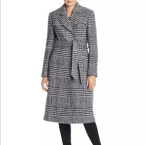 🆕 Cole Haan Belted Houndstooth Wrap Coat Size 12